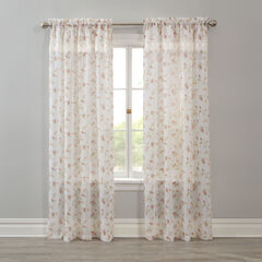 Crushed Voile Rod-Pocket Panel with Attached Layered Valance, FLORAL