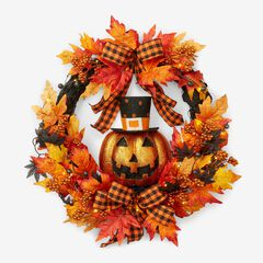 "24"" Jack-O-Lantern Wreath, ORANGE"