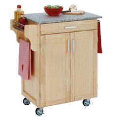 Natural Wood Cuisine Kitchen Cart with Salt & Pepper Granite Top,
