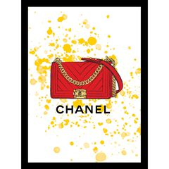 """Chanel Purse Red/Yellow 14"""" x 18"""" Framed Print,"""