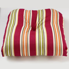 Tufted Wicker Chair Cushion, CHERRY BAJA STRIPE