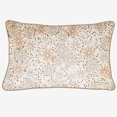 Metallic Floral Decorative Pillow,