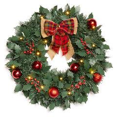 "18"" Cordless LED Christmas Wreath,"