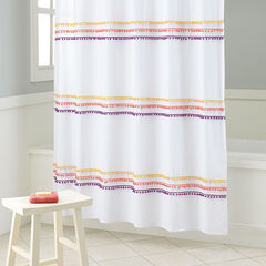 BrylaneHome® Studio PomPom Shower Curtain, SUNSET