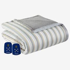 Micro Flannel® Reverse to Sherpa Electric Blanket, METRO STRIPE