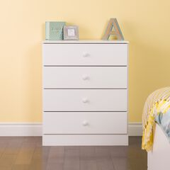 Astrid 4-Drawer Dresser with Acrylic Knobs, White,