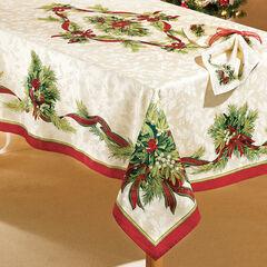 "Christmas Ribbons Tablecloth, 60""x84"" Oblong,"