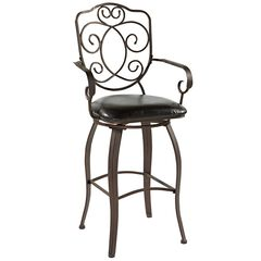 Crested Back Counter Stool, 24'H,