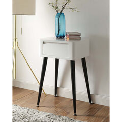 Black & White Side Table with Tall Legs ,