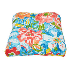 Tufted Wicker Chair Cushion, POPPY BLUE