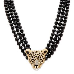 "Gold Tone Leopard Beaded Collar Necklace (49mm), Crystal, 20"" plus 2"","