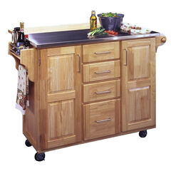 Stainless Steel Kitchen Cart with Wood Breakfast Bar,