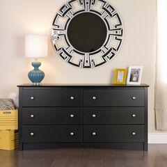 Sonoma 6 Drawer Dresser, Black,