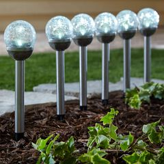 Solar Crackle Ball Lights, Set of 6,