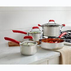 7-Pc. Stainless Cookware with Red Silicone Handles,
