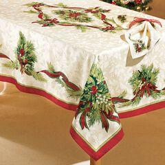 "Christmas Ribbons Tablecloth, 60""x104"" Oblong,"