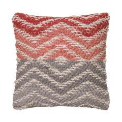 Woven Chevron Grey-Pink Decorative Pillow,