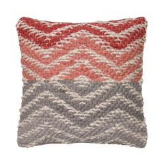 Woven Chevron Grey-Pink Decorative Pillow,