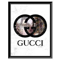 Gucci Inside Paris - Brown / Black - 14x18 Framed Print,