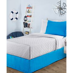 "Luxury Hotel Kids Tailored 14"" Drop Blue Bed Skirt,"