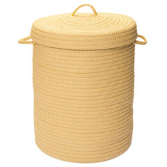 Solid Texture Hamper with Lid, YELLOW