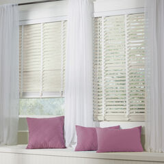 "2"" Faux Wood Cordless Blind , WHITE"
