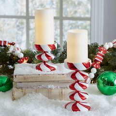 Candy Cane Candleholders & Candles, Set of 2,