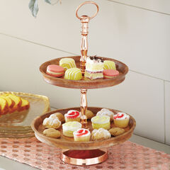 2-Tier Walnut & Copper Server,