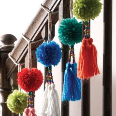 Pom Pom Ornaments, Set of 4,