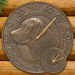 """Labrador 14"""" Indoor Outdoor Wall Thermometer With Clock Combo,"""