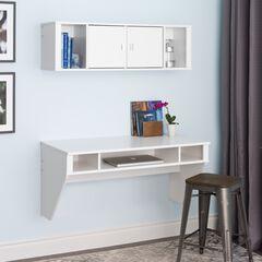 Designer Floating Desk & Hutch Set, White,