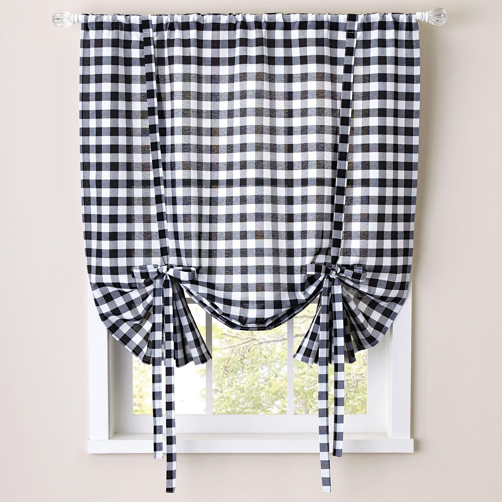 Attrayant Buffalo Check Tie Up Window Shade