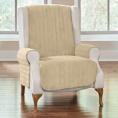 Reversible Plush Stripe Recliner Protector, GOLDEN TAN