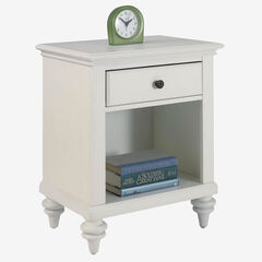 Bermuda Night Stand Brushed White Finish,