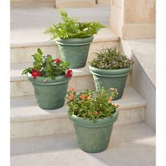 Set of 4 Floral Embossed Planters,