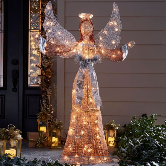 Lighted Angel Outdoor Christmas Decorations.58 H Led Glitter Angel