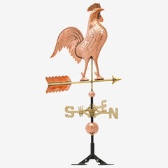 Copper Rooster Weathervane, POLISHED
