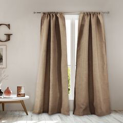 Burlap Natural Curtain Panel Pair ,