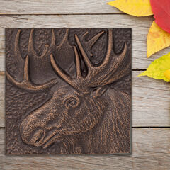 "Moose 8"" x 8"" Indoor Outdoor Wall Decor, ANTIQUE COPPER"