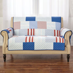 Printed Faux Patchwork Loveseat Protector, MULTI