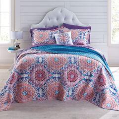 BrylaneHome® Studio Dahlia Bedspread, CORAL PURPLE TEAL