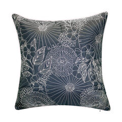 Fine Line Embroidered Floral Indoor & Outdoor Decorative Pillow,