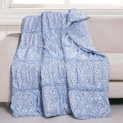 Greenland Home Fashions Helena Ruffle Quilted Throw Blanket, BLUE