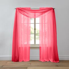 BH Studio Sheer Voile Scarf Valance, RUBY