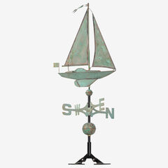 Copper Sailboat Weathervane, VERDIGRIS