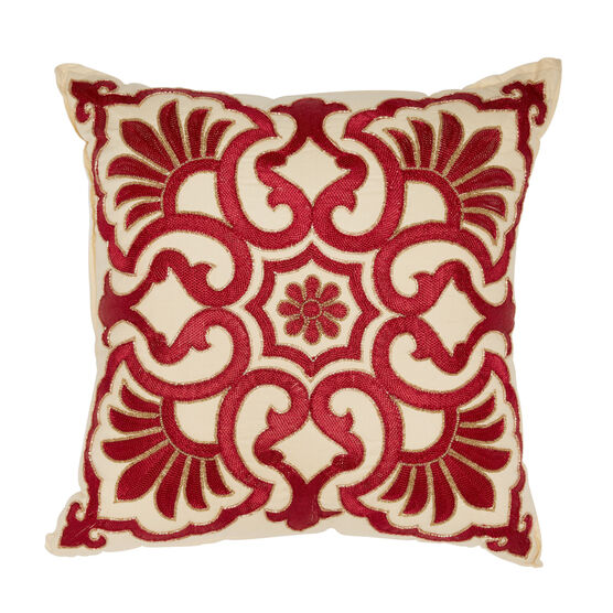 Josephine Embroidered Decor Pillow, IVORY RED