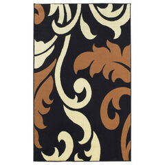 Capri Black Leaf 5' x 7' Area Rug,
