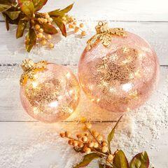 "6"" Pre-Lit Crackle Glass Ornament,"