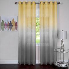 Rainbow Single Grommet Window Curtain Panel, GREY YELLOW