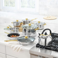 14-PC. Stainless Steel Cookware Set with Gold Accents,